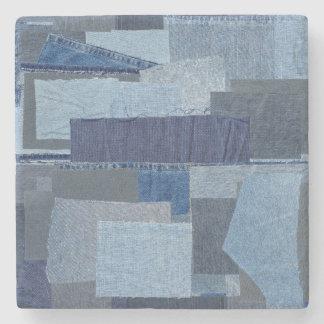 Porta Copos De Pedra Sarja de Nimes azul Shibori dos retalhos de Boro