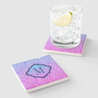 Porta Copos De Pedra Teste padrão cor-de-rosa e azul Monogrammed do