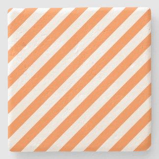 Porta Copos De Pedra Teste padrão diagonal alaranjado e branco das