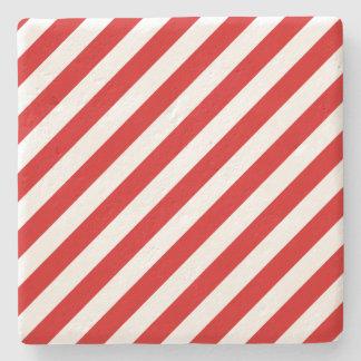 Porta Copos De Pedra Teste padrão diagonal vermelho e branco das