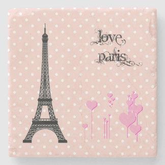 Porta Copos De Pedra Torre Eiffel, corações, bolinhas - rosa preto