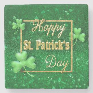 Porta Copos De Pedra Trevo do ouro do dia de St Patrick - porta copos