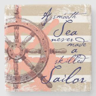 Porta Copos De Pedra Um mar liso nunca fez um marinheiro especializado