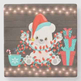 Porta Copos De Pedra Urso polar pequeno bonito com luzes de Natal