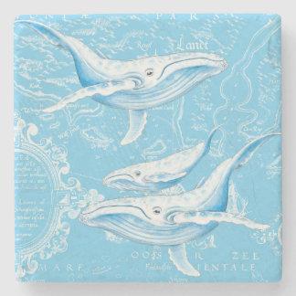 Porta Copos De Pedra Vintage da família das baleias azuis