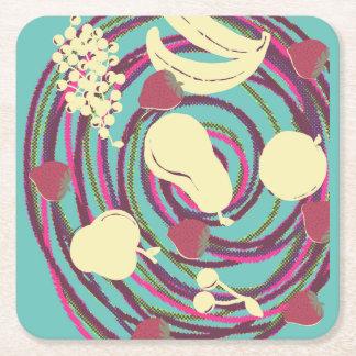 Porta copos de roda da fruta porta-copo de papel quadrado