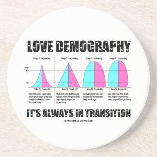 Porta-copos Demografia do amor está sempre na transição
