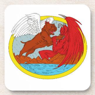 Porta-copos Desenho de combate da satã do cão americano da