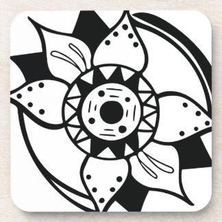 Porta-copos Desenho preto e branco monocromático da flor