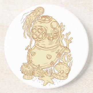 Porta-copos Desenho subaquático do capacete do mergulho da