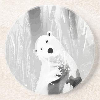 Porta-copos Design preto e branco original do urso polar