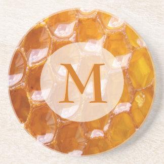 Porta-copos Detalhe doce de favo de mel dourado Monogrammed
