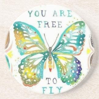 Porta copos do arenito com borboleta e citações