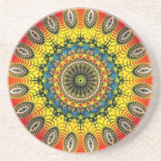 Porta copos do arenito com teste padrão colorido