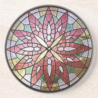 Porta copos do arenito da janela cor-de-rosa