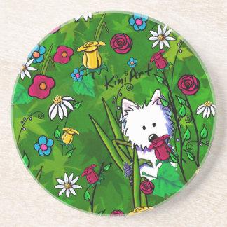 Porta copos do cão de Westie do Flowerbed de KiniA