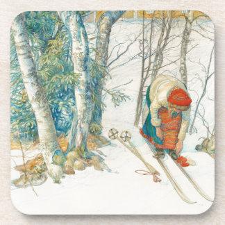 Porta copos do esqui da filha do traje da menina