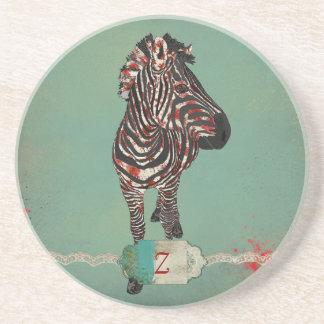 Porta copos do monograma da zebra da rosa vermelha