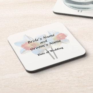 Porta-copos Dois brancos e Daffodils alaranjados que Wedding