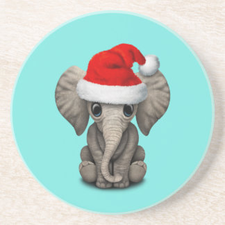 Porta-copos Elefante do bebê que veste um chapéu do papai noel