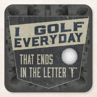 Porta copos engraçada do golfe - golfe diário porta-copo de papel quadrado