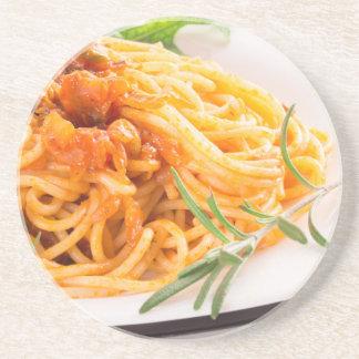 Porta-copos Espaguetes italianos com o close up vegetal do