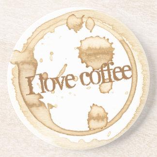 Porta-copos Eu amo o texto do Grunge do café com manchas do