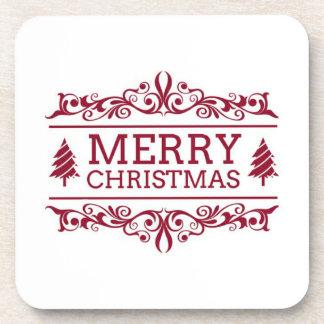 Porta Copos Feliz Natal branco e vermelho