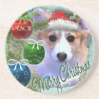 Porta-copos Filhote de cachorro do Corgi do Feliz Natal