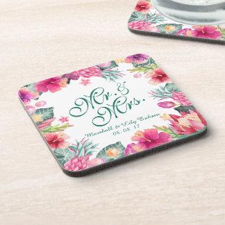 Porta copos floral tropical personalizada do