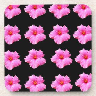Porta Copos Flores cor-de-rosa do hibiscus no preto, _