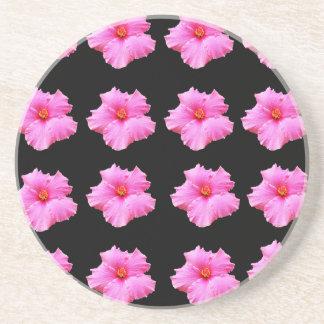 Porta-copos Flores cor-de-rosa do hibiscus no preto, _