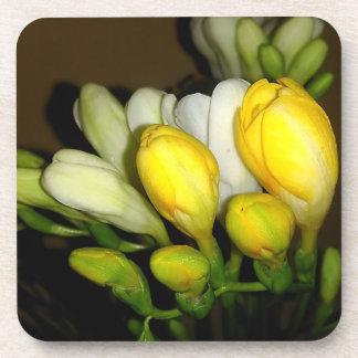 Porta-copos Flores em botão brancas e amarelas do Freesia