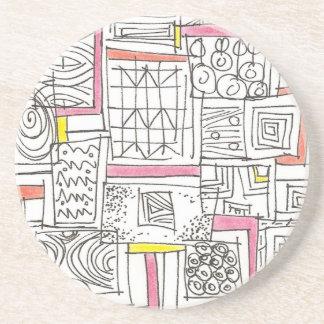 Porta-copos Fora do Doodle geométrico do Caixa-Abstrato