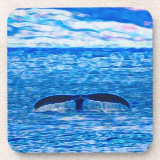 Porta-copos Fractal da cauda da baleia azul e cor-de-rosa