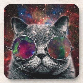Porta-copos Gato do espaço que veste óculos de proteção na