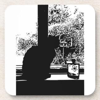 Porta-copos Gato preto na janela