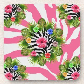 Porta-copos Hibiscus tropical e listras cor-de-rosa exóticas