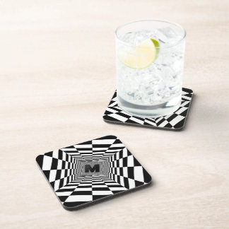 Porta-copos Ilusão, monograma ou inicial visual preta & branca