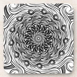 Porta-copos Ilusão óptica do Doodle ornamentado do zen preto e