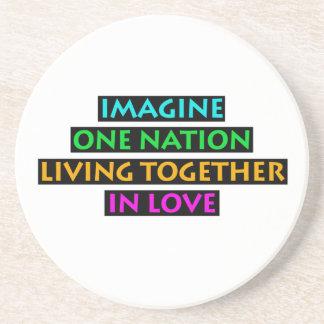 Porta-copos Imagine uma nação viver junto no amor