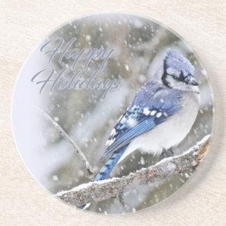 Porta-copos Jay azul no feriado do Natal da neve