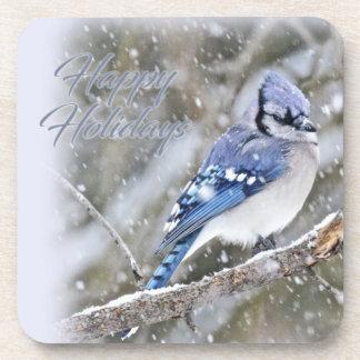 Porta Copos Jay azul no feriado do Natal da neve