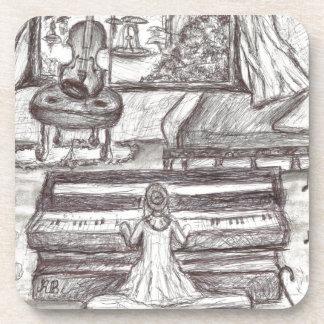 Porta-copos Jogando o piano em um dia chuvoso