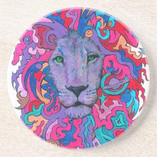 Porta-copos Leão psicadélico roxo
