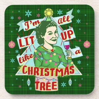 Porta Copos Lit retro da mulher do humor do bebendo do Natal