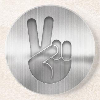 Porta-copos Mão da paz do cromo