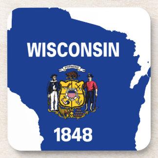 Porta-copos Mapa da bandeira de Wisconsin