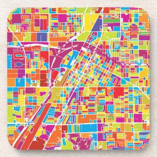 Porta Copos Mapa de Las Vegas colorido, Nevada