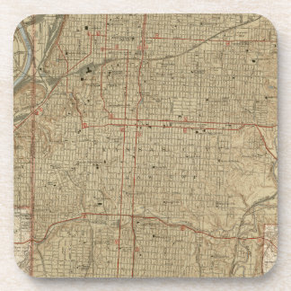 Porta Copos Mapa do vintage de Kansas City Missouri (1935)